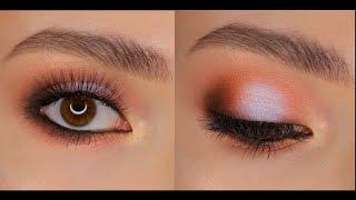 Персиковый смоки с бликом для карих глаз