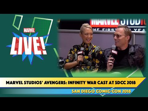 Paul Bettany & Pom Kelemtieff of Marvel Studios' Avengers: Infinity War Cast at SDCC 2018