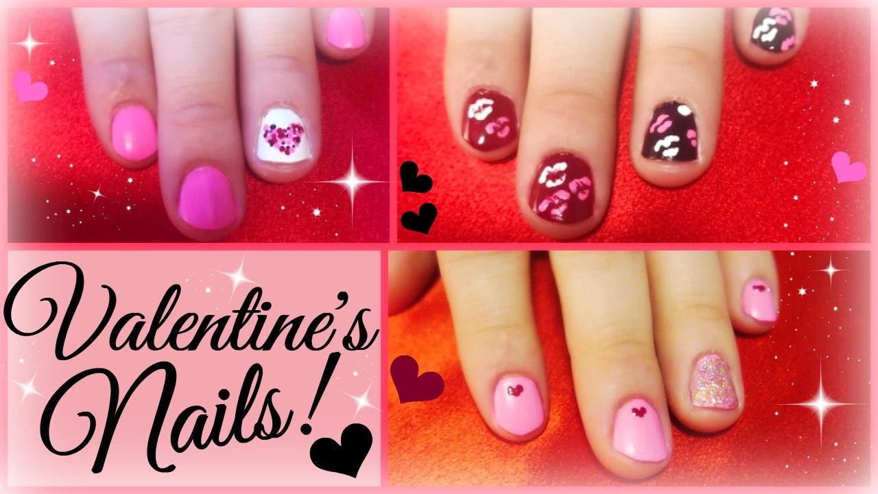 3 diy valentines day nail art ideas easy youtube solutioingenieria Gallery