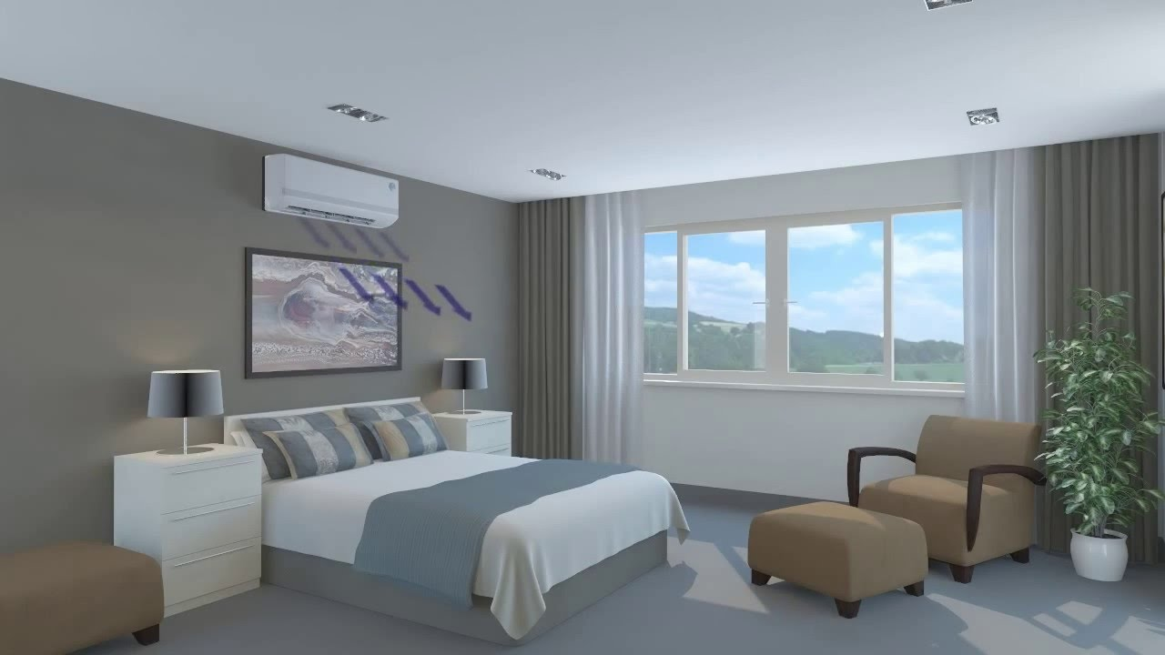 Wall Mounted Air Conditioner Bedroom - 3D Animation - YouTube