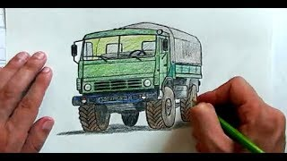 Как нарисовать Камаз карандашом поэтапно(Ehedov Elnur)Kamaz masin sekli nece cekilir