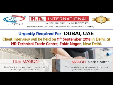 Urgently Required For Dubai (UAE) || Client Interview || 11th September 2018