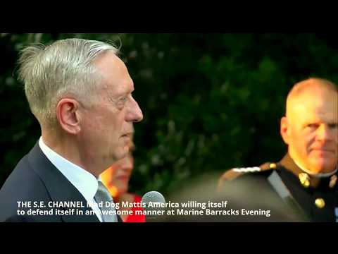 Mad Dog Mattis America willing to defend itself 'in an Awesome manner' Marine Barracks Evening