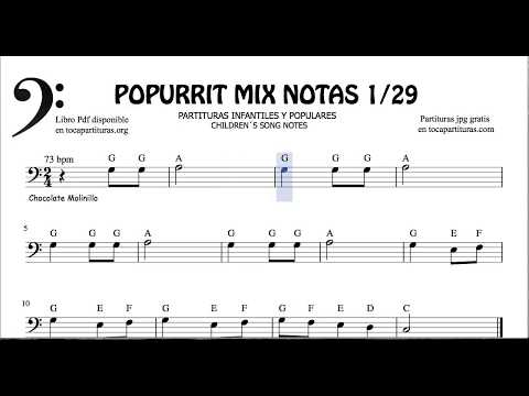 1 of 29 Popurrit Mix Notes Sheet music for Bass Clef Children's Songs