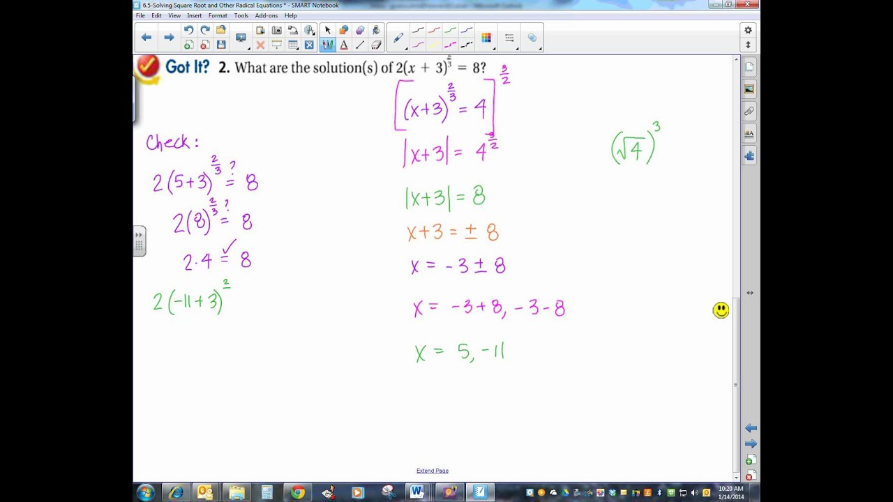 6 5 Solving Square Root and Other Radical Equations YouTube – Solving Radical Equations Worksheet with Answers
