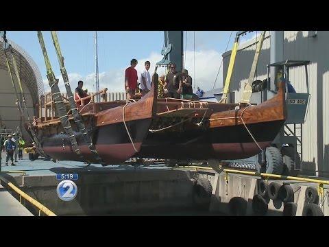 Voyaging canoe Hawaiiloa returns to water after 11 years