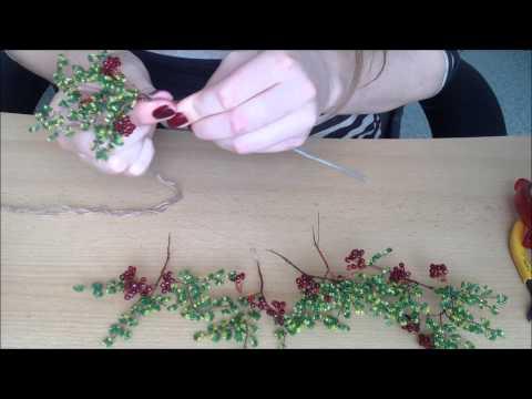 СБОРКА ДЕРЕВА ИЗ БИСЕРА. Осенняя рябина.  Часть 2/2.Autumn tree out of beads. смотреть в хорошем качестве