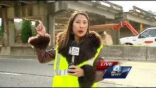 Portion of I-585 closed after construction equipment hit bridge
