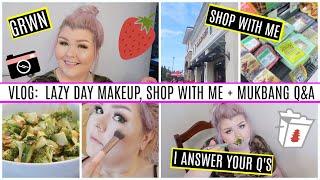 VLOG : Lazy Day Makeup, Shop With Me + Mukbang Q&A