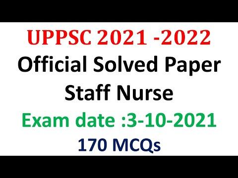 UPPSC Staff Nurse 2021| Answer Key 2021 Uppsc Staff Nurse Paper|  Paper Solution| 170 Questions