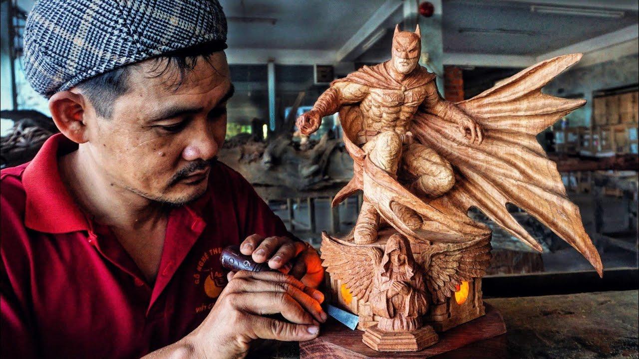 Batman - Wood Carving timelapse : The Dark Knight