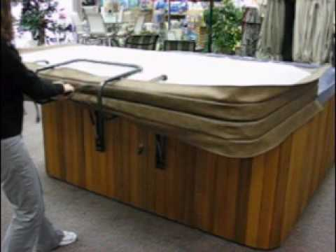SHOCK JOCK Hot Tub Cover Lifter / Spa Cover Lift in operation - YouTube
