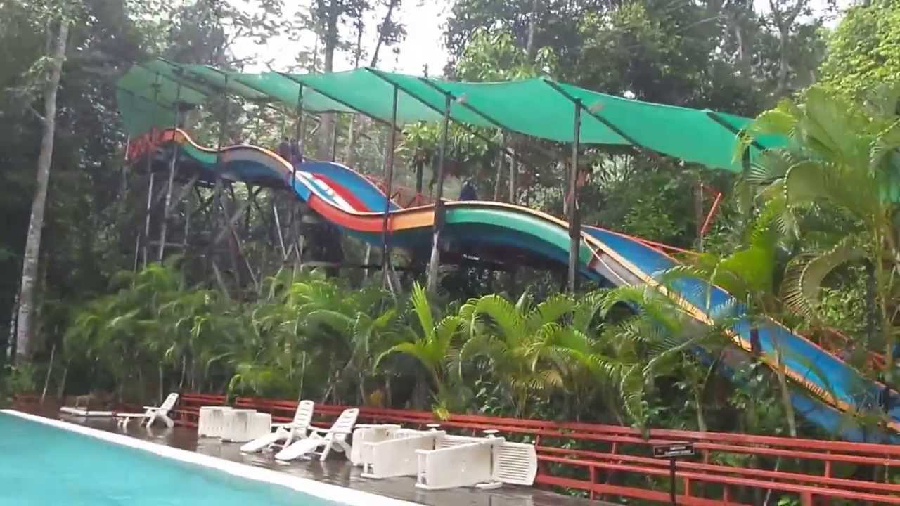 Fun on the water slides at Borneo Tropical Rainforest