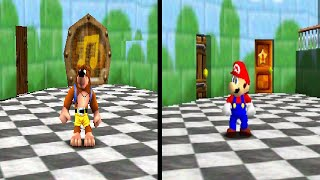 Banjo-Kazooie in Super Mario 64 Comparison (Real N64 Capture)