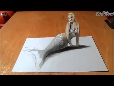 Cara Membuat Gambar Putri Duyung 3 Dimensi Menggunakan Pensil