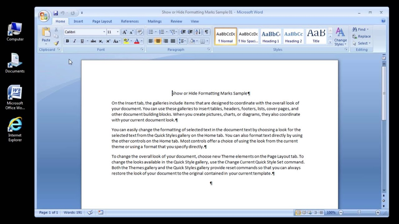 Microsoft Word 2007 Show Or Hide Formatting Marks Youtube