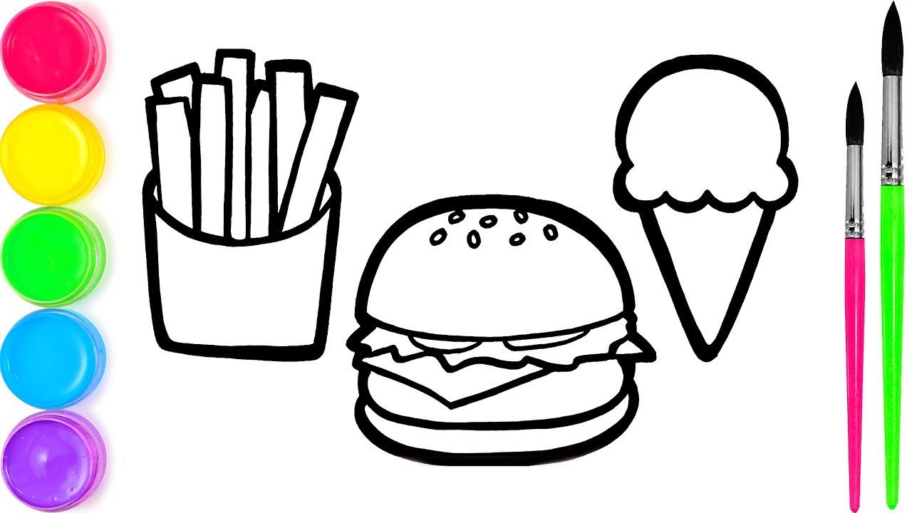 Pelajari Menggambar Dan Mewarnai Makanan Cepat Saji Untuk Anak Anak