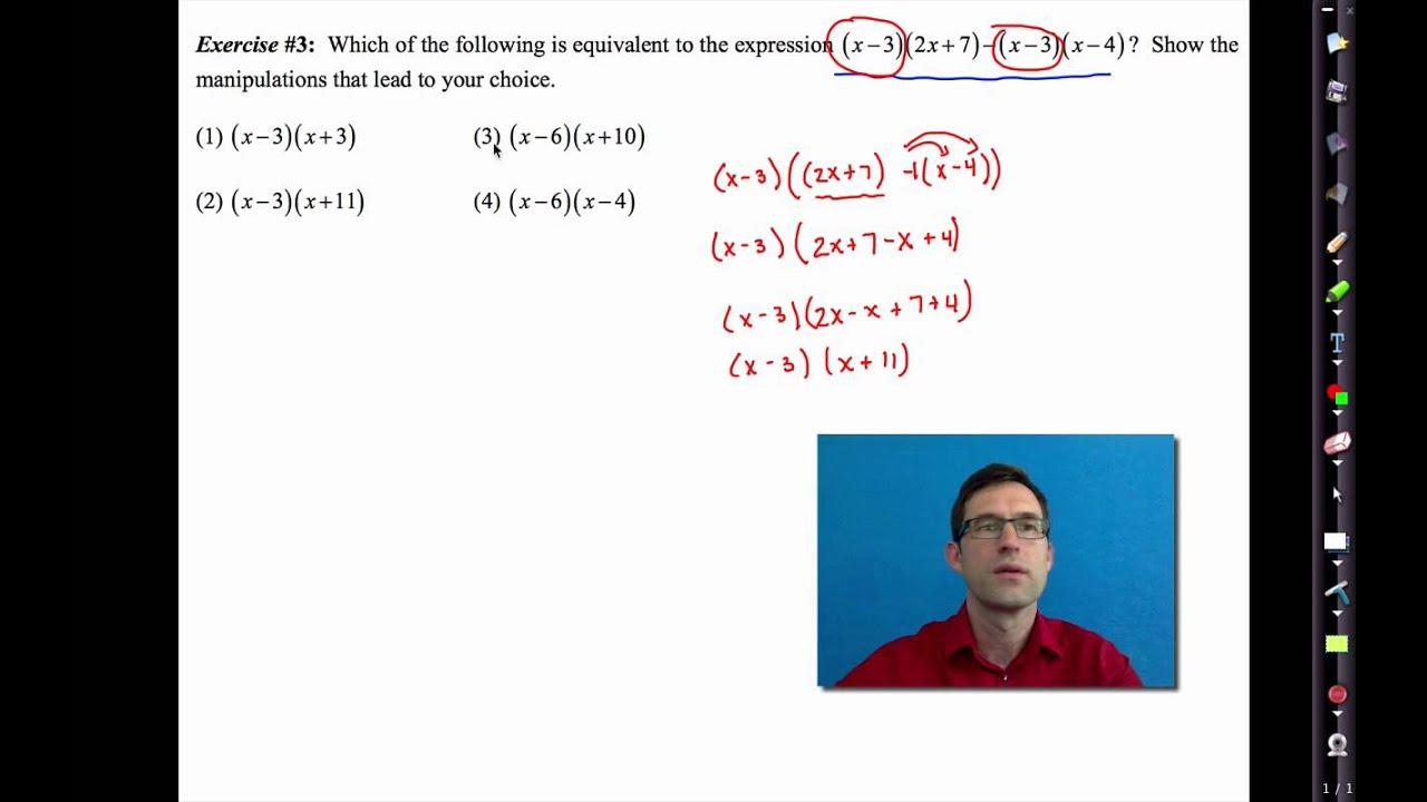 Common Core Algebra I Unit 1 Lesson 9re Structure