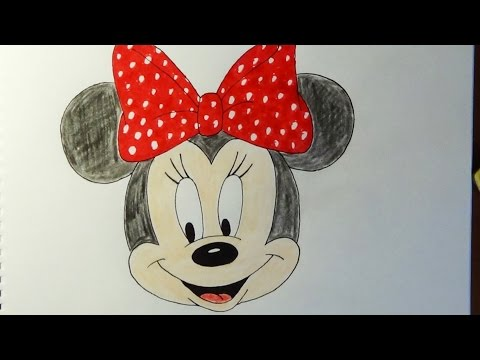 How to draw Minnie Mouse, Como dibujar Minnie Mouse, Как нарисовать Минни Маус