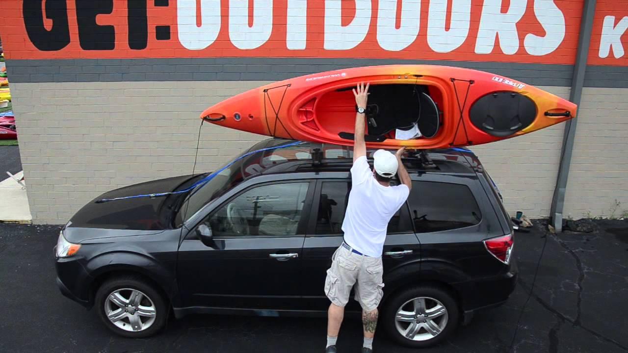 kayak cartopping using a basic rack or foam blocks