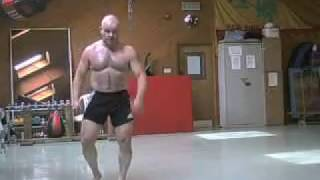Performing Bas Rutten's boxing cd workouts
