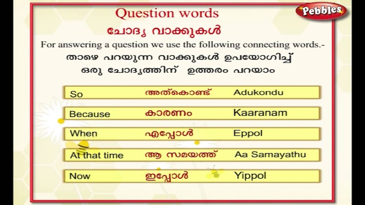 Learn Malayalam Through English | Lesson - 13 | Question Words