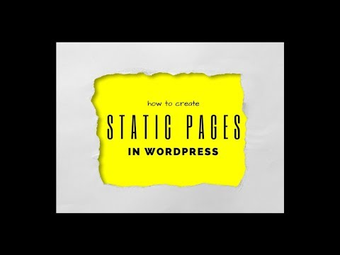 How to create STATIC PAGES in WORDPRESS