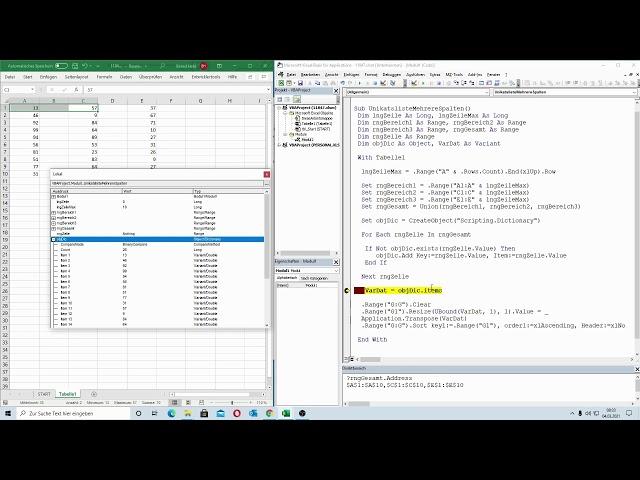 223: Excel-VBA: Eine Unikatsliste aus mehreren Spalten bilden (Dictionary-Object)