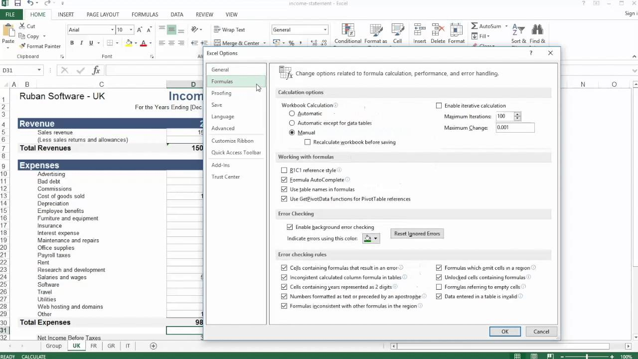 Automatic updating of formulas in excel
