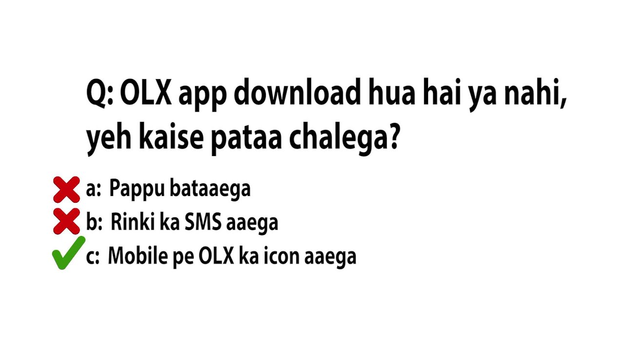 OLX on your Mobile Wrong Answer