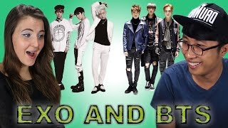 americans react to kpop exo and bts