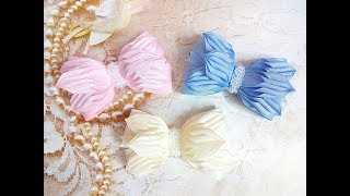 бантики резинки заколки из лент канзаши МК / hair clips ribbon kanzashi DIY