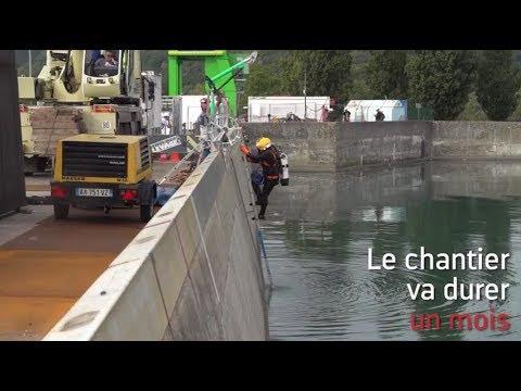 Travaux à la centrale hydroélectrique de Sablons