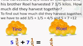Adding Mixed Numbers with the same Denominators - Interactive Math Lesson