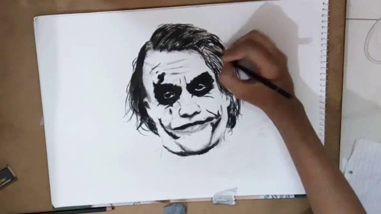 Joker Scribble Drawing : Joker charcoal sketch time lapse youtube