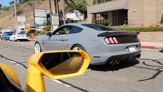 Supercharged Mustang GT Meets Lambo! Accelerations, Donuts, Loud Exhaust!