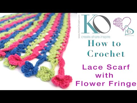 How To Crochet Flower Fringe Edging On Crochet Lace Scarf Part Of