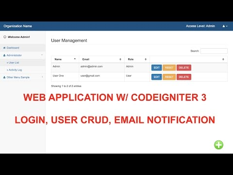 Simple User Login, User CRUD, Email Notification With Codeigniter 3