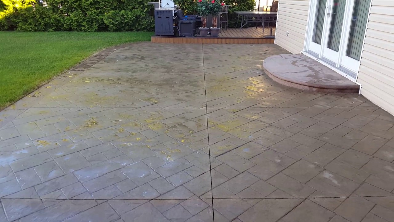 Stamped Concrete After Being Stripped Of Poor Sealer And Sealing Process.