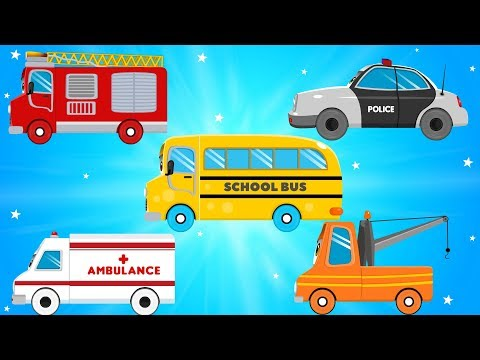 Car Transport Truck Carrying Fire Truck And Ambulance for Kids Videos - Children Cartoons