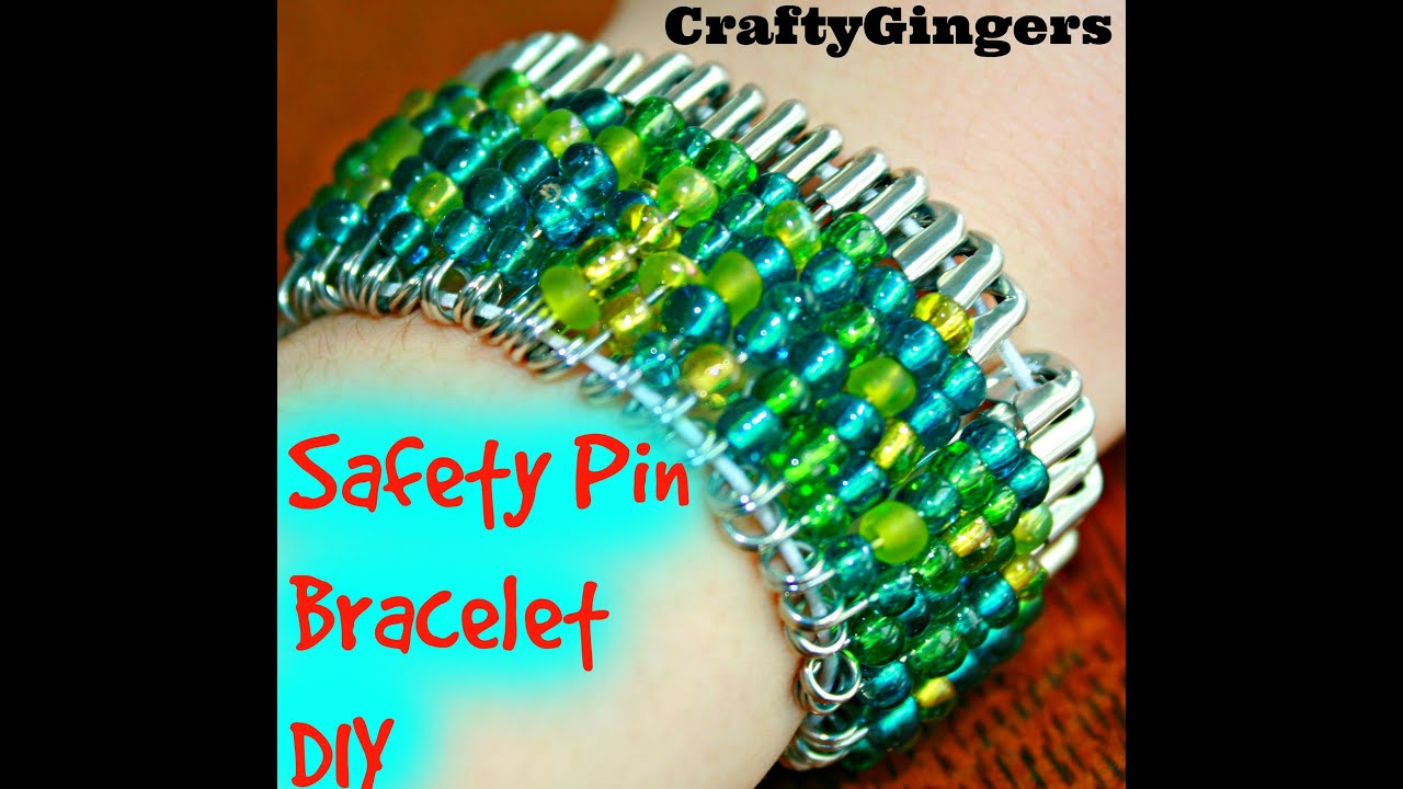 Beaded safety pin bracelet diy youtube for Safety pins for jewelry making