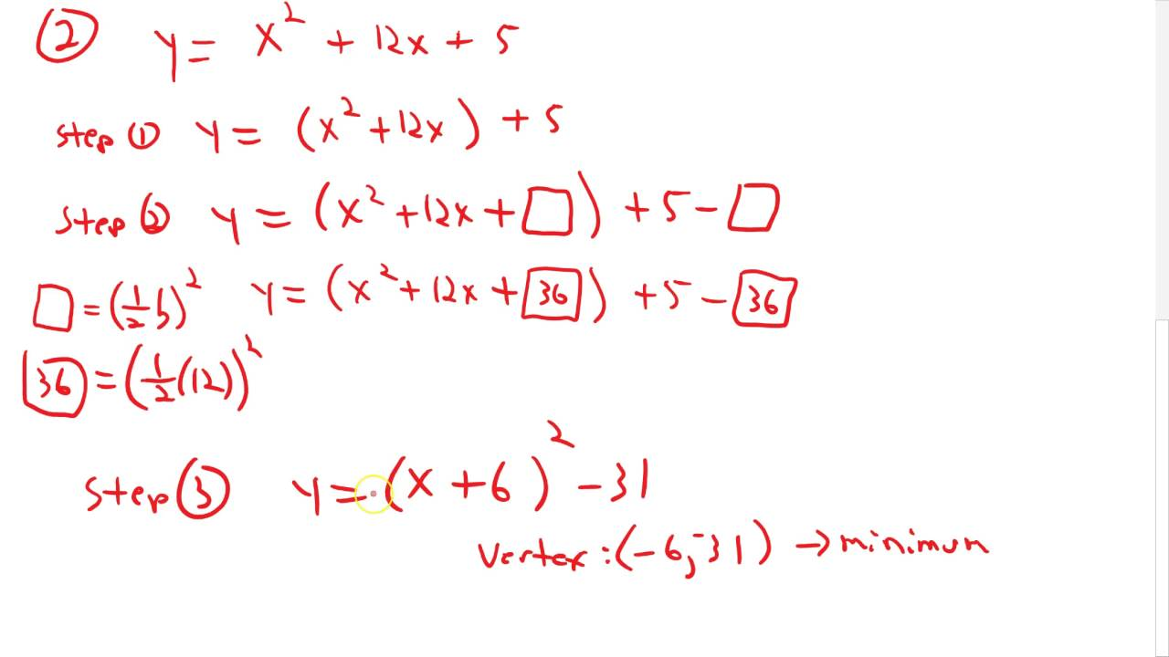 Convert to Vertex Form by Completing the Square - YouTube