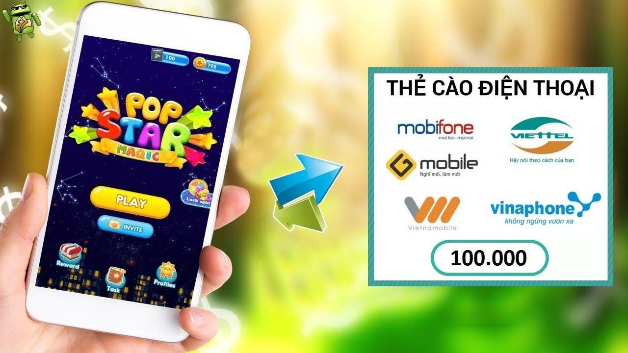 Chơi Game Kiếm PayPal Quy Ra Thẻ Cào Điện Thoại App Pop Star Magic – LVT | Kiếm Tiền Online