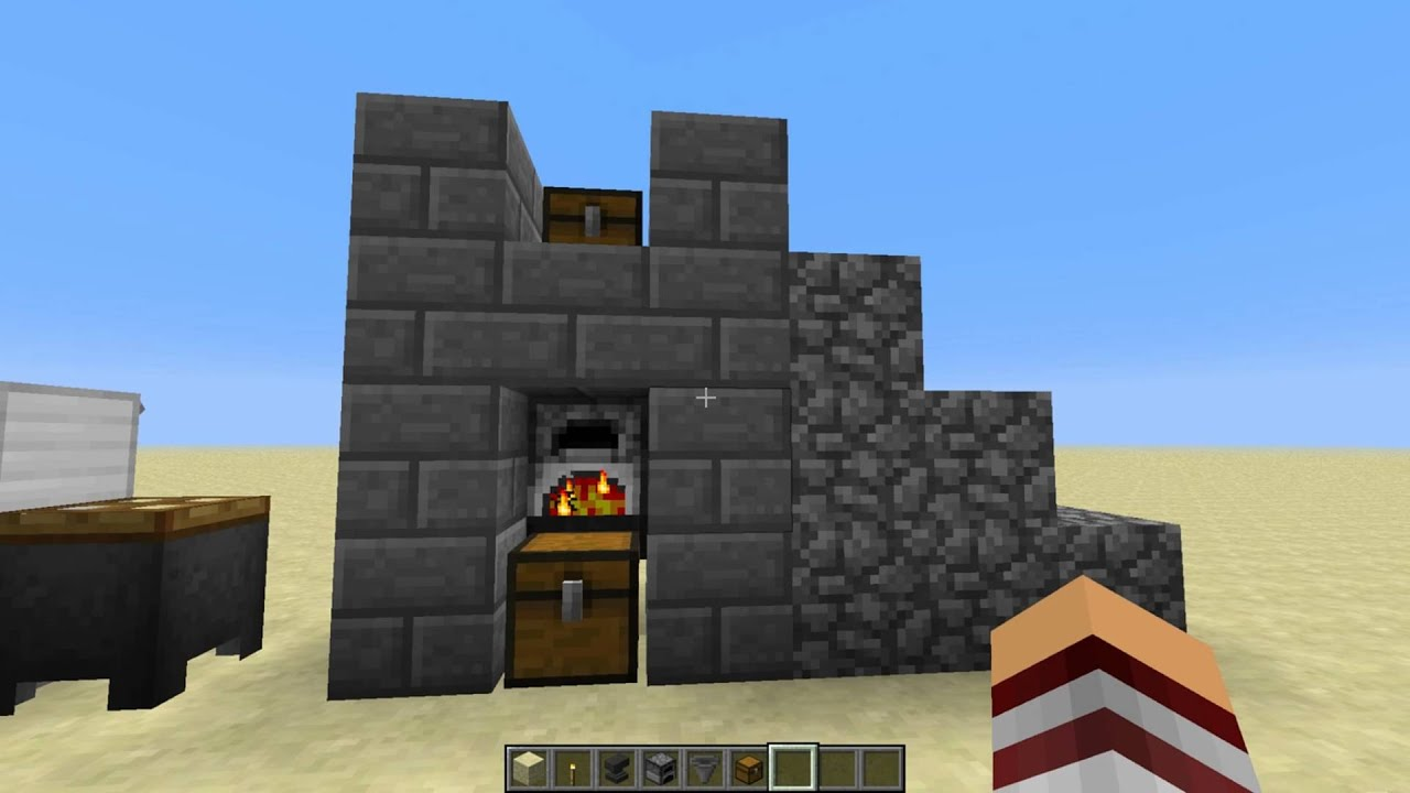 Minecraft Redstone Tutorial two automatic furnace - YouTube