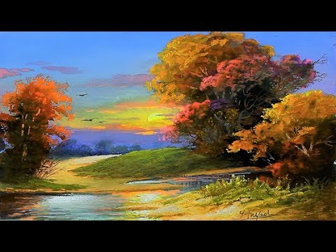 gouache sunset landscape painting