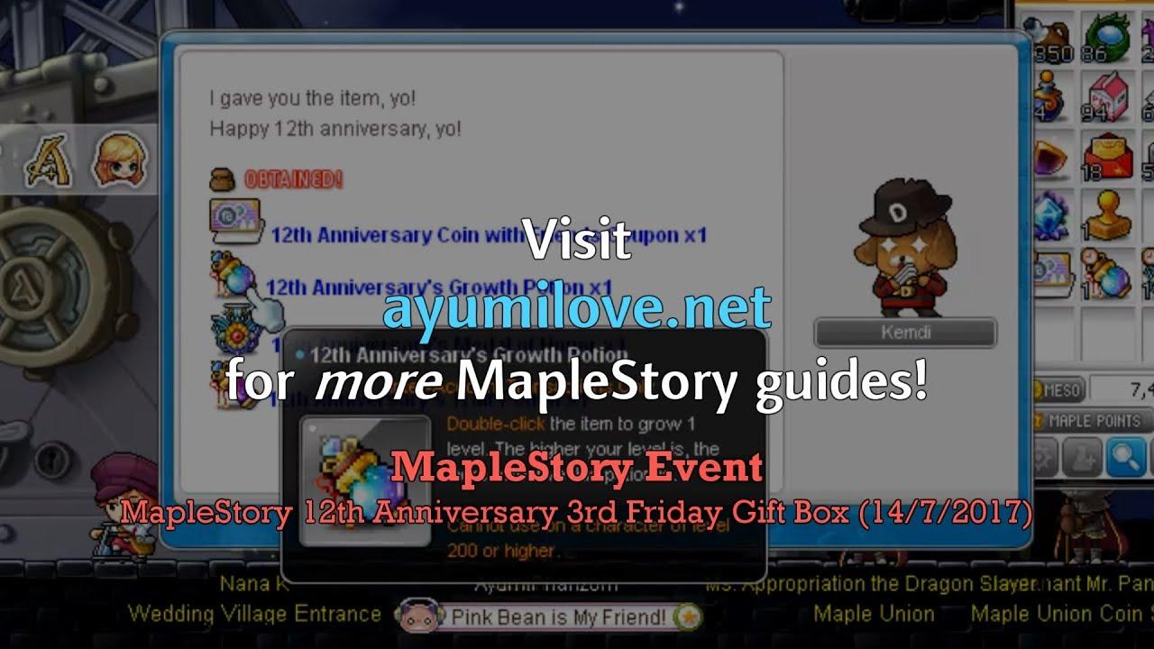 Ayumilove MapleStory MapleSEA 12th Anniversary 3rd Friday Gift Box ...