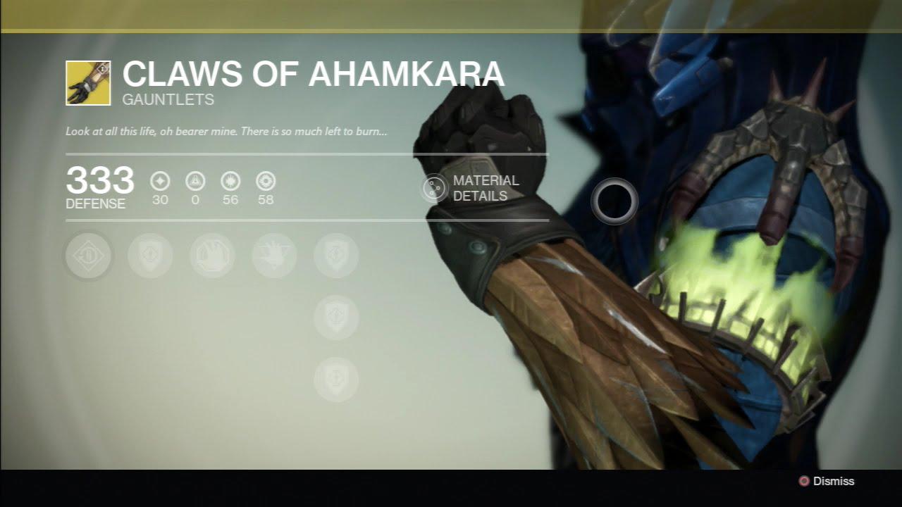 Destiny exotic armor claws of ahamkara gauntlets youtube