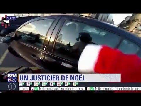 Délit de fuite : la folle course poursuite d'un père Noël à moto pour faire arrêter une voiture streaming vf