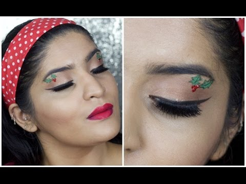 Cute Christmas Holly Makeup Tutorial