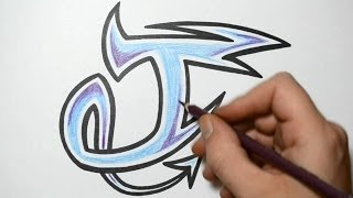 How to Draw Graffiti Characters - Letter J